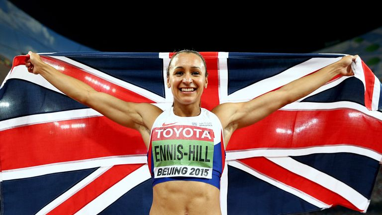 Jessica Ennis-Hill of Great Britain celebrates after winning the Women's Heptathlon