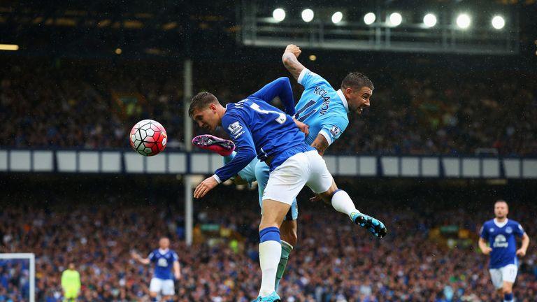 Everton's John Stones and Man City's Aleksandar Kolarov clash earlier this season