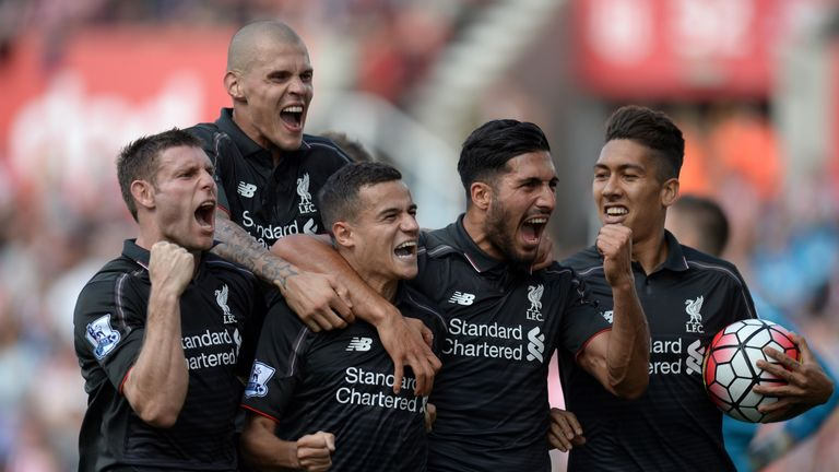 Liverpool's James Milner, Martin Skrtel, Philippe Coutinho, Emre Can and Roberto Firmino celebrate