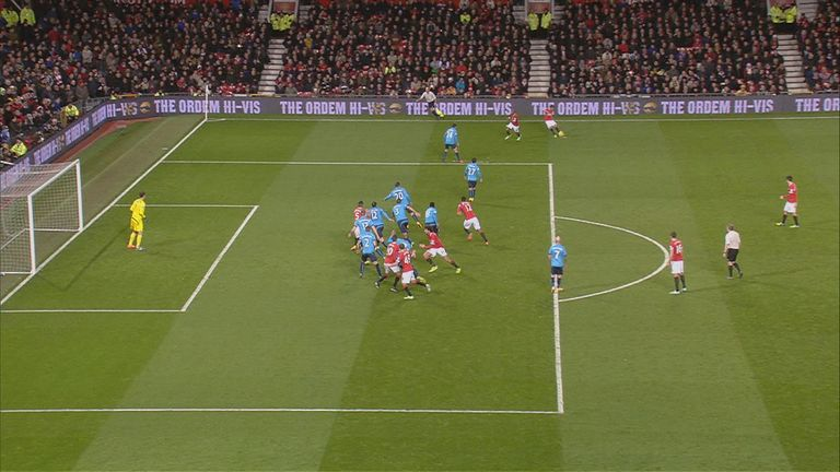 Marcos Rojo is marginally offside when Manchester United's Juan Mata takes a free kick against Stoke