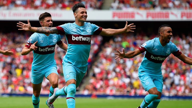 Mauro Zarate (centre) leads his team-mates in celebration