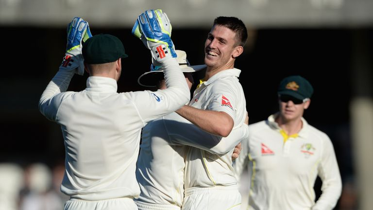 Mitchell Marsh celebrated plenty during the Kia Oval Test but was also denied a wicket for overstepping