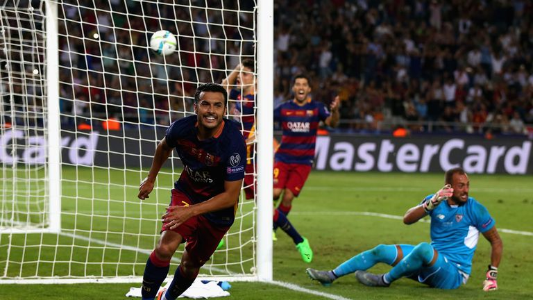Pedro scores for Barca in the Super Cup