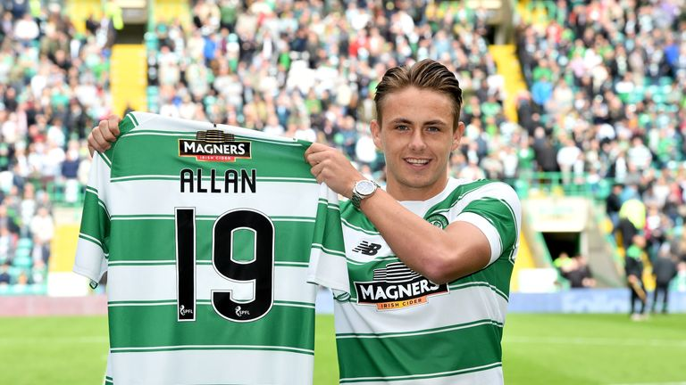 New Celtic signing Scott Allan was unveiled to the home support ahead of kick-off against Inverness