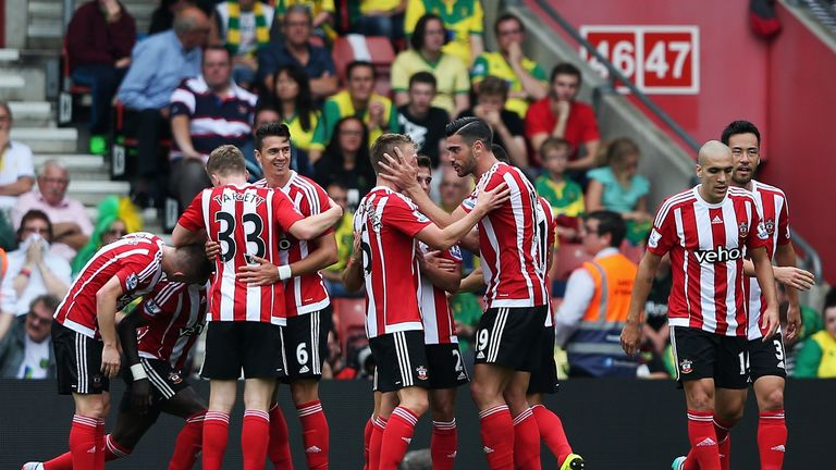 Graziano Pelle celebrates with team-mates after opening the scoring