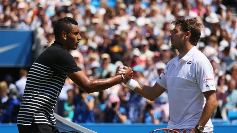Stan Wawrinka (right), pictured here shaking hands with Nick Kyrgios (left) at the Aegon Championships in June, hopes the ATP acts against the Australian