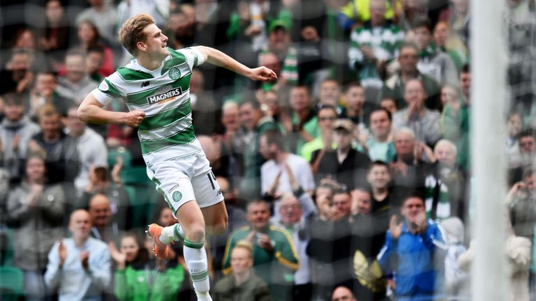 Stuart Armstrong celebrates after netting Celtic's third against Inverness.
