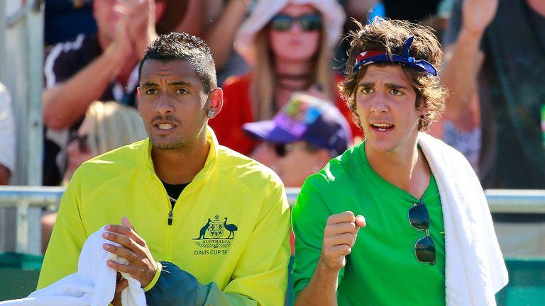 Thanasi Kokkinakis (right) is a Australian Davis cup team-mate of Nick Kyrgios' (left)