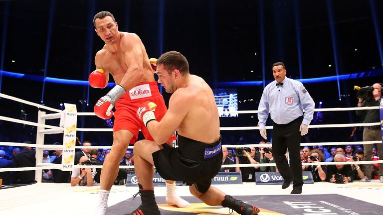Wladimir Klitschko (left) needed five rounds to end Kubrat Pulev's first world title fight