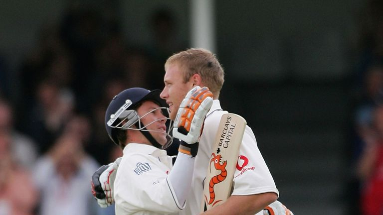 Little and large... Jones enjoyed batting with Flintoff for England