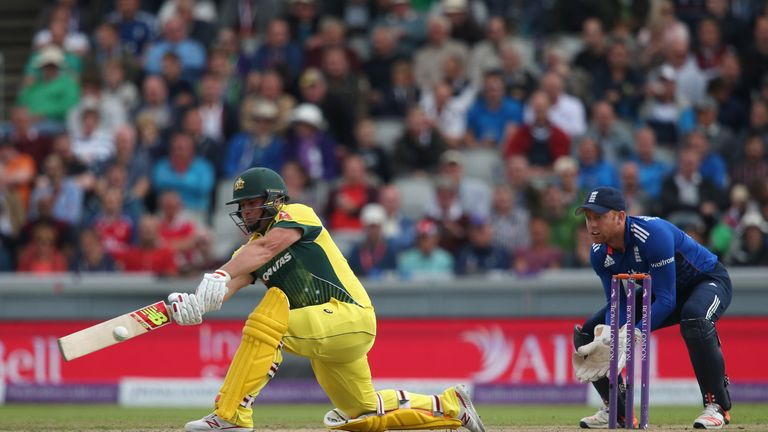Aaron Finch of Australia hits out in front of Jonny Bairstow of England during the 5th Royal London ODI