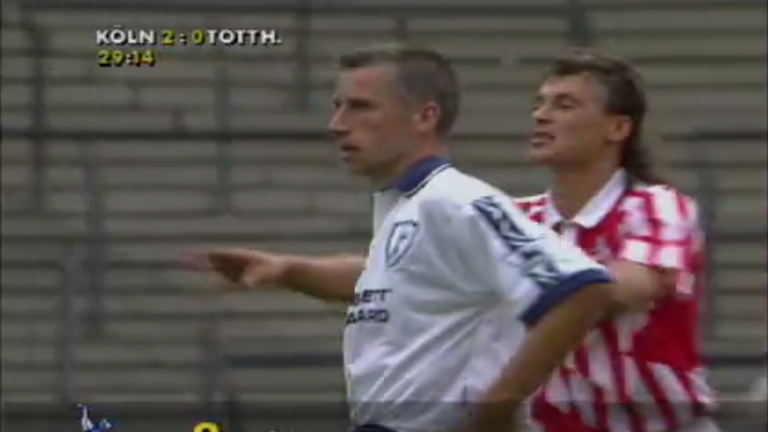 A glimpse of Pardew in action against Cologne in the Intertoto Cup in 1995