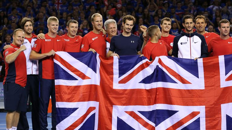 Andy Murray and the Great Britain Davis Cup team celebrate their win over Australia