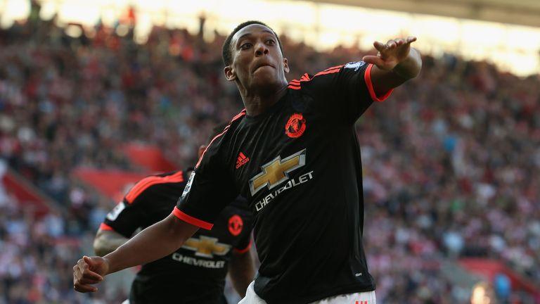 Martial celebrates scoring his second goal against Southampton last month