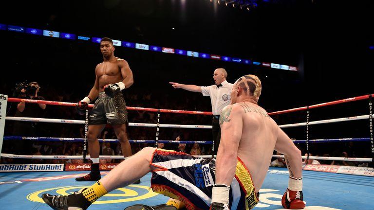 Anthony Joshua knocks down Gary Cornish in the first round