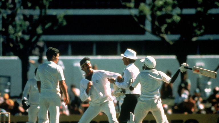 Dennis Lillee enjoyed his time at the WACA. Here, he confronts a furious Javed Miandad of Pakistan in 1981.
