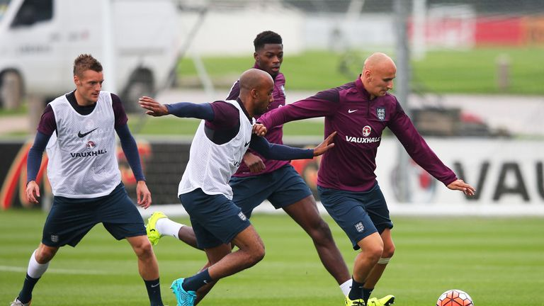 Fabian Delph challenges Jonjo Shelvey during England training ahead of Saturday's San Marino game
