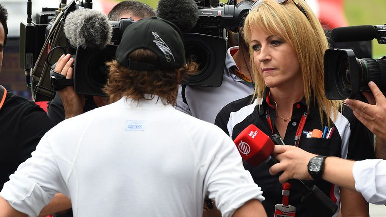 Alonso speaks to Sky Sports' Rachel Brookes in the Suzuka interview pen
