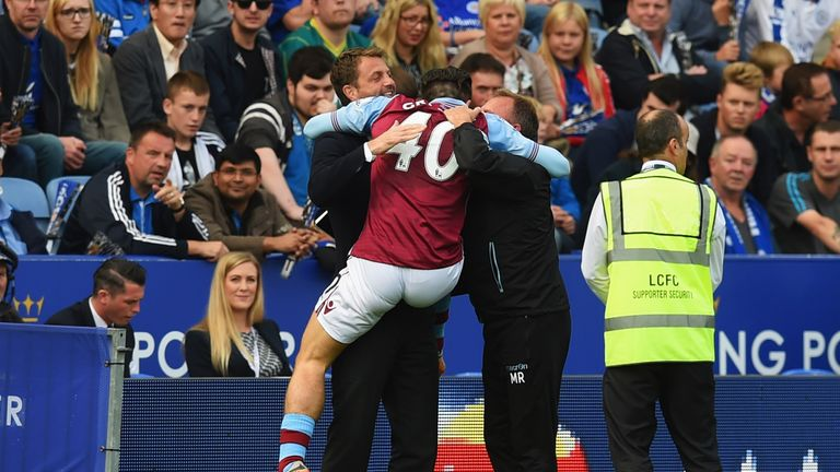 Jack Grealish celebrates with manager Tim Sherwood