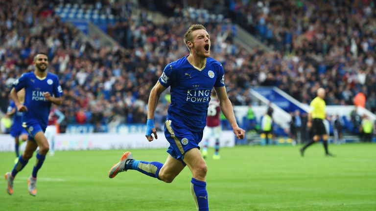 Jamie Vardy has scored nine goals in nine Premier League games
