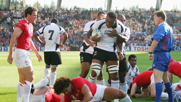 Kele Leawere of Fiji celebrates after scoring against Wales in the 2007 World Cup