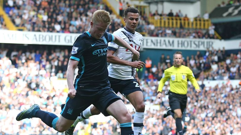Kevin De Bruyne (left) opened the scoring for Man City after a fast counter attack