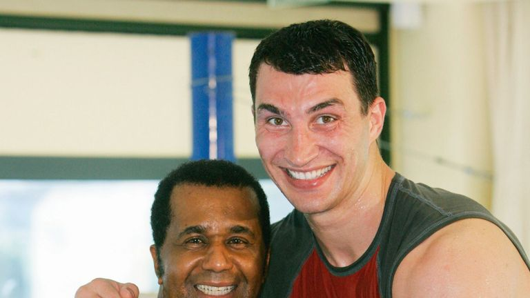 Manny Steward (L) reportedly tipped Fury as a future world champion