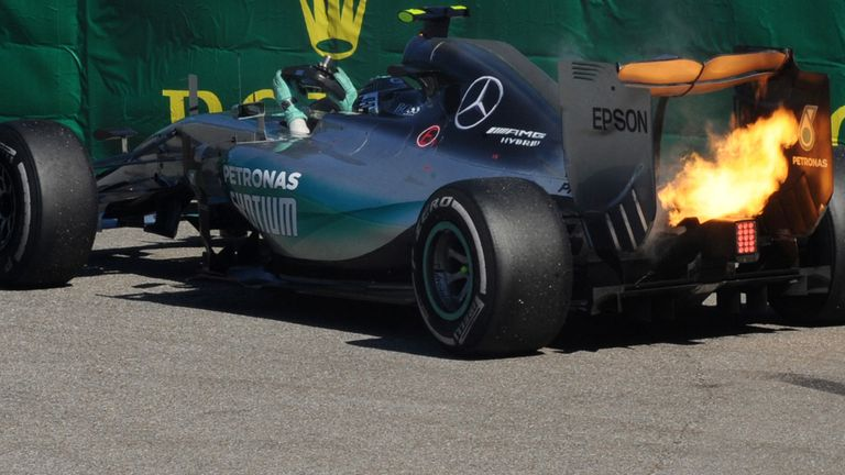 Nico Rosberg's engine blew at the end of the Italian GP after he reverted to an older spec