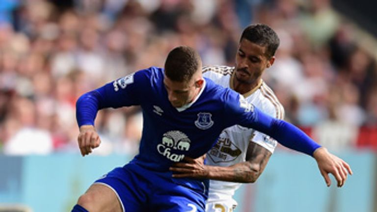 Ross Barkley is challenged by Kyle Naughton