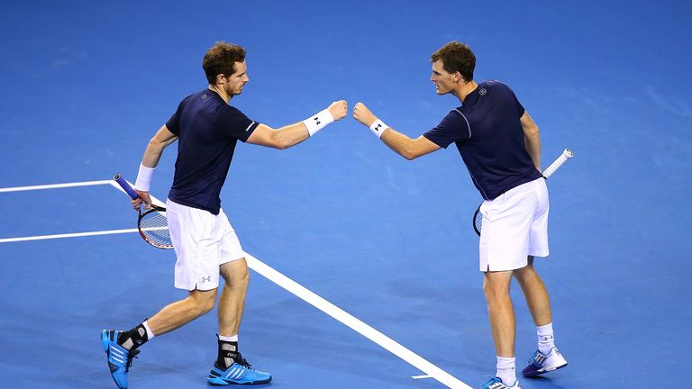 Andy Murray celebrates with his brother Jamie