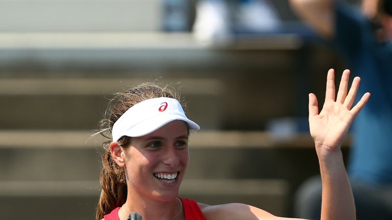 Johanna Konta celebrates her victory against Louisa Chirico at Flushing Meadows