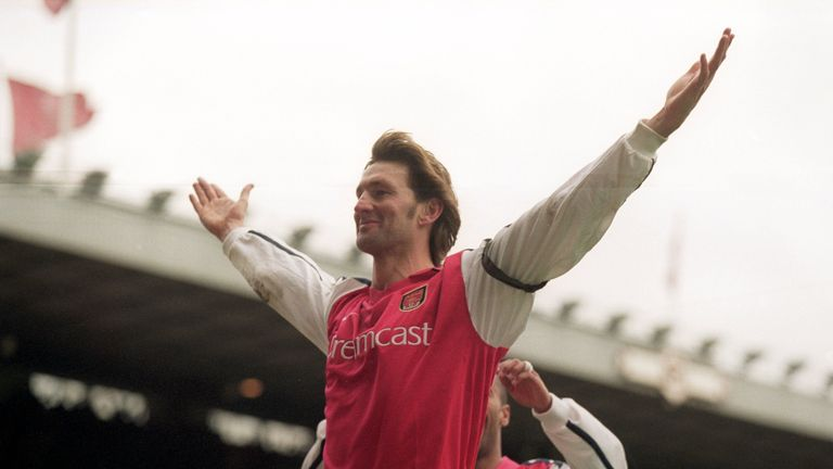Tony Adams celebrates scoring for Arsenal against Leicester on December 26, 2000