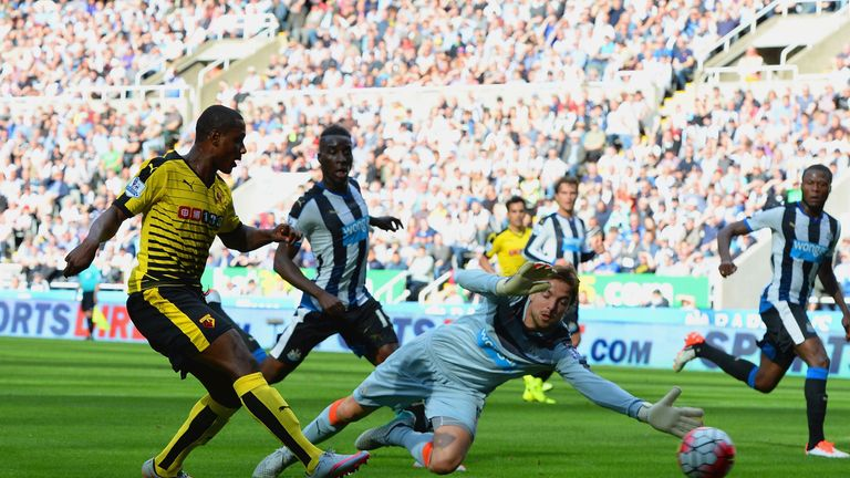 Odion Ighalo scores Watford's second goal in the 2-1 win at Newcastle last weekend