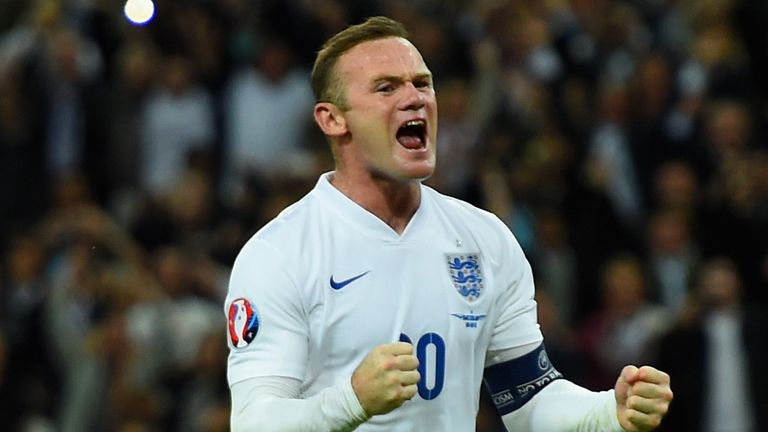 Rooney celebrates scoring his record breaking 50th goal for England