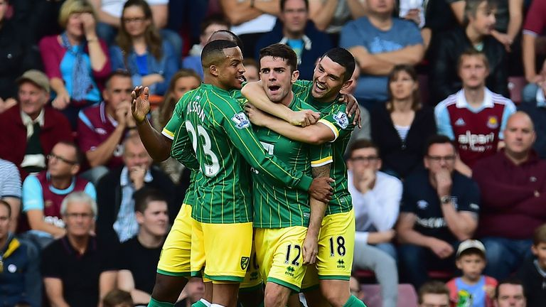 Robbie Brady celebrates scoring for Norwich in the 2-2 draw