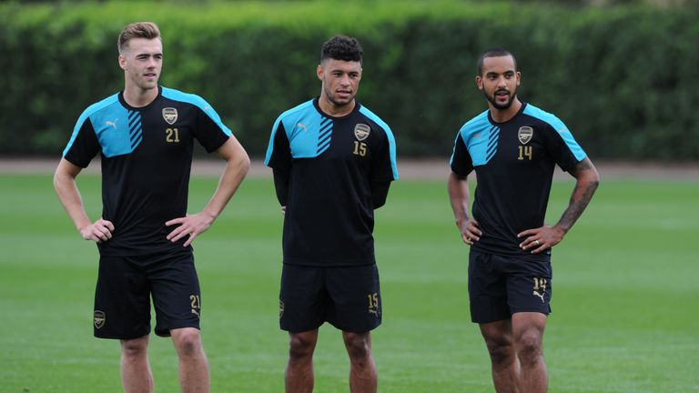Alex Oxlade-Chamberlain and Theo Walcott during a training session at London Colney