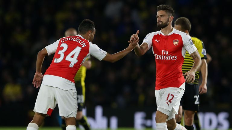Arsenal's Olivier Giroud (right) celebrates with Francis Coquelin