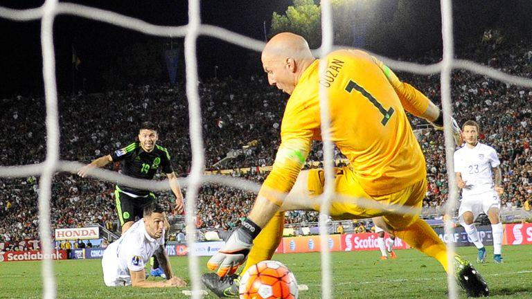 Brad Guzan is beaten in USA's defeat to Mexico