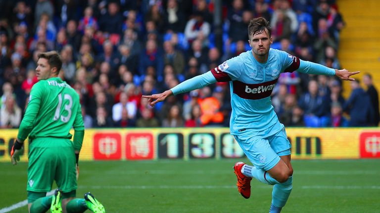 Carl Jenkinson celebrates scoring West Ham's opener against Crystal Palace