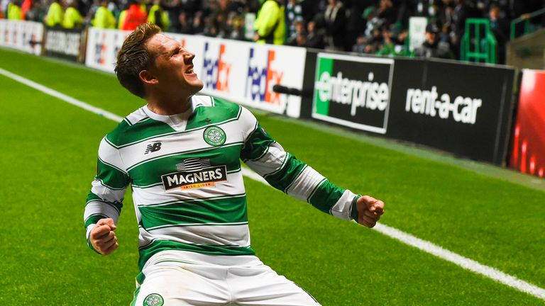 Celtic's Kris Commons shows his emotion after doubling the home side's lead