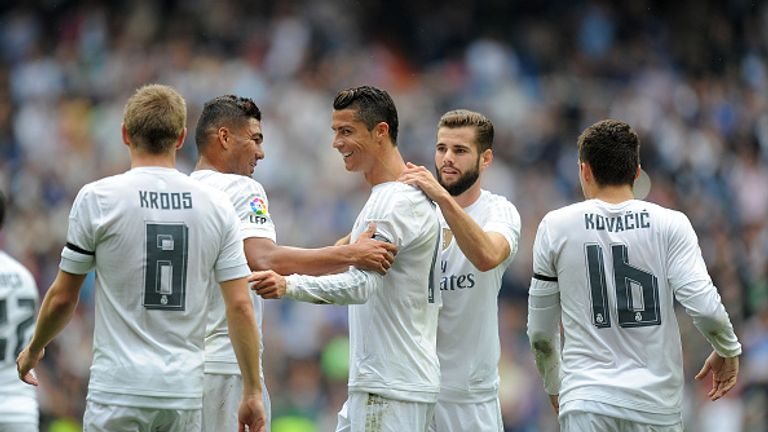 Ronaldo celebrates after scoring Real's second