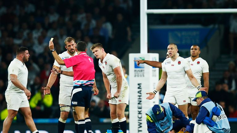 England players protest after Owen Farrell was shown a yellow card