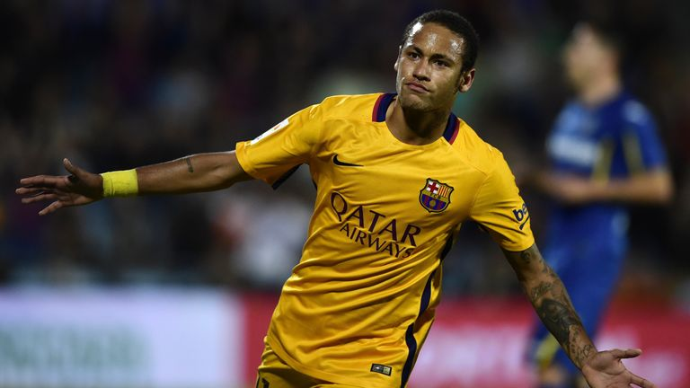 Neymar: Leads the goalscoring charts in Spain after scoring in 2-0 win at Getafe