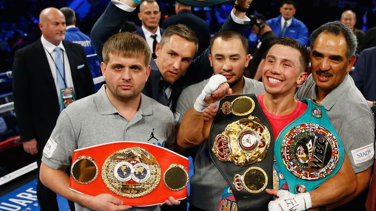 Gennady Golovkin (second right) wants to add to his trophy cabinet