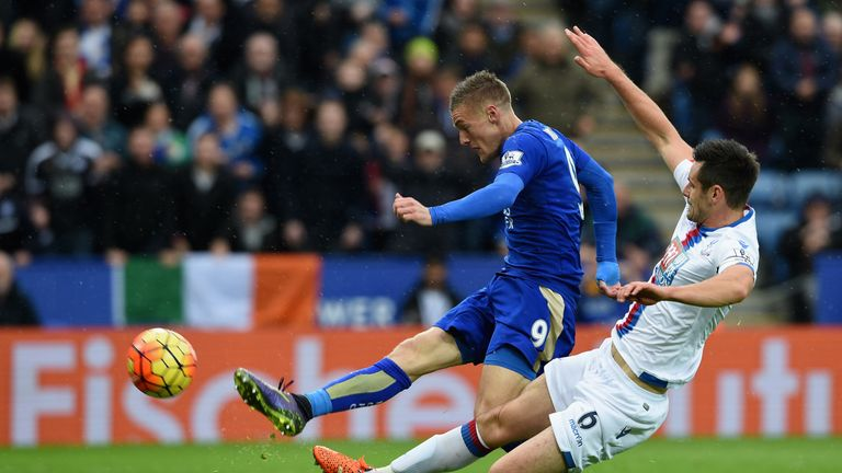 Jamie Vardy of Leicester City scores his team's opening goal against Crystal Palace