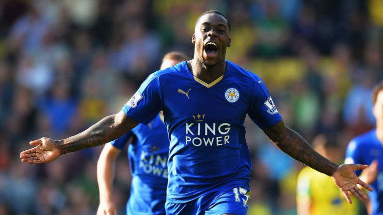 Jeff Schlupp of Leicester City celebrates scoring his team's second goal against Norwich City.