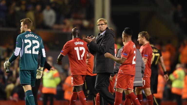 Jurgen Klopp applauds the home fans after Liverpool's 1-1 draw with Rubin Kazan