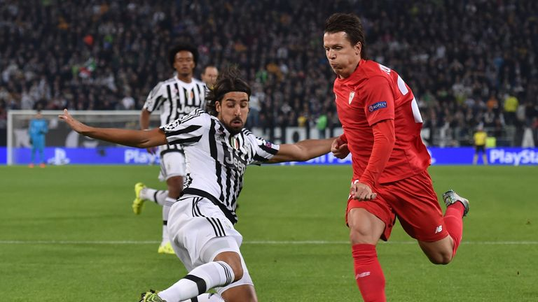 Yevhen Konoplyanka (right) of Sevilla causes havoc in the Juventus defence in the Champions League