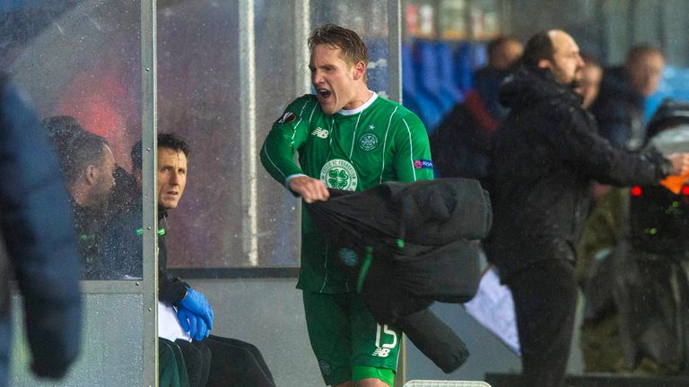 Celtic's Kris Commons vented his frustration after being substituted
