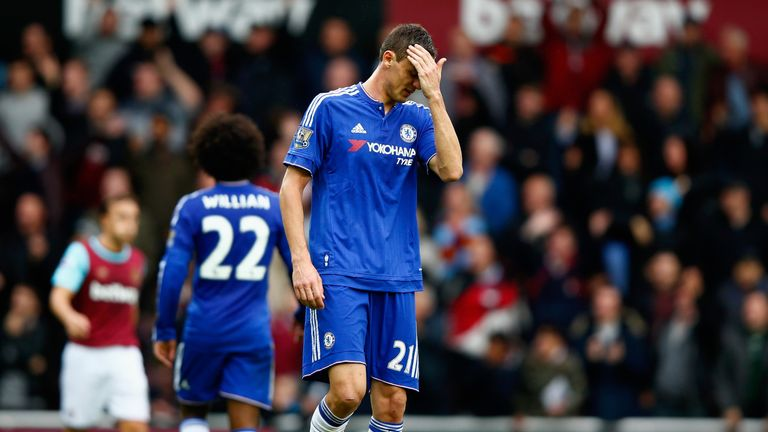 Nemanja Matic of Chelsea leaves the pitch after being shown a red card against West Ham